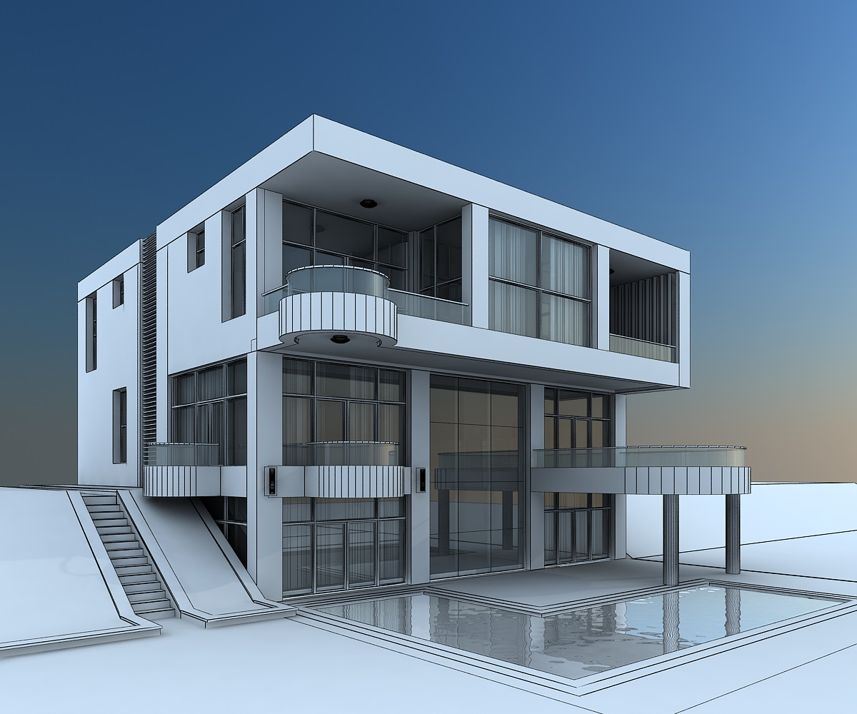 3d model modern villa with balcony cgtrader