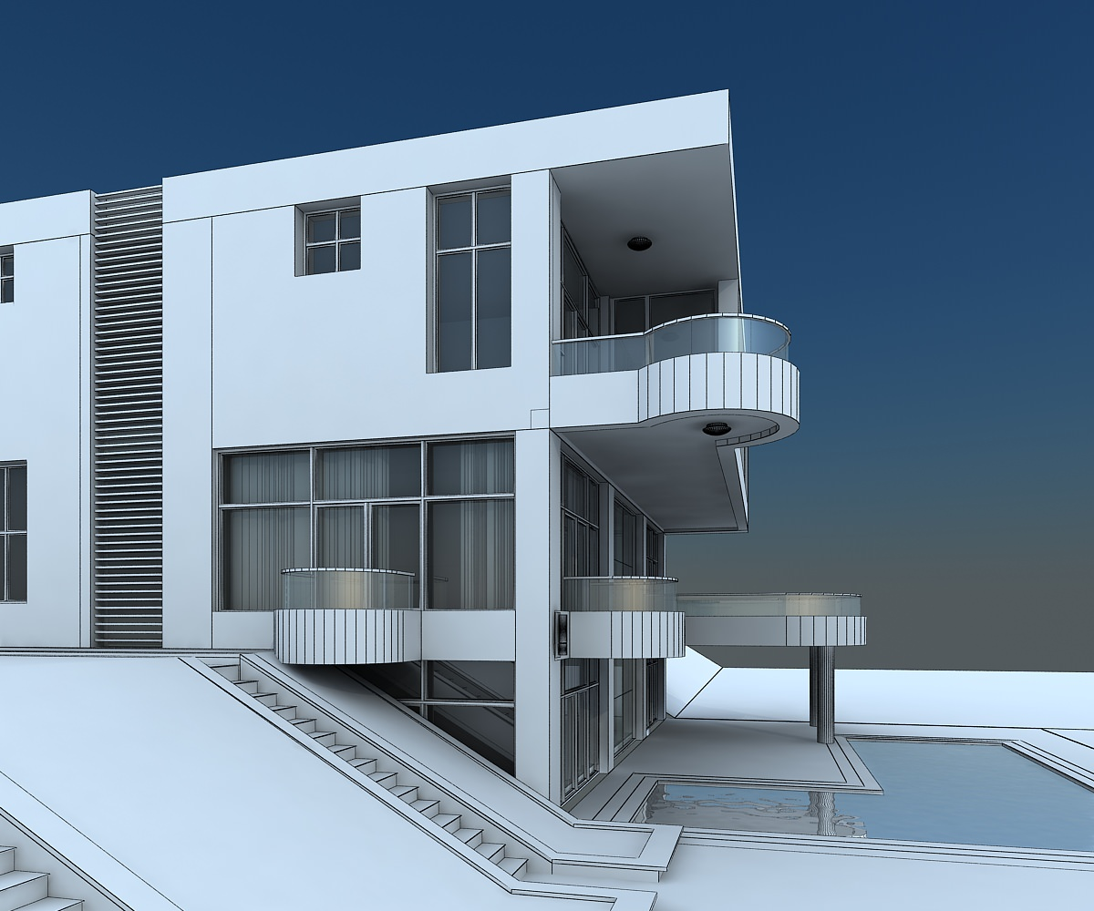Modern villa with balcony 3d model max for Balcony modern