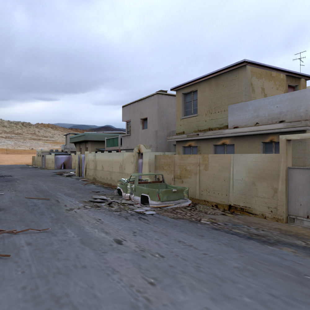 Desert town poser vue 3d model rigged vue pz3 pp2 for Architecture 3d vue 3d