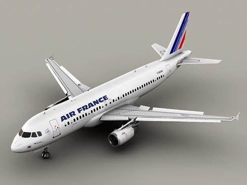 airbus a320 air france 3d model max obj 3ds mtl tga 1