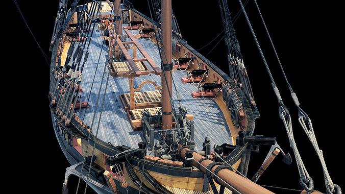 brig sail ship exuberant 3d model max 9