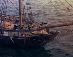 brig sail ship exuberant 3d model