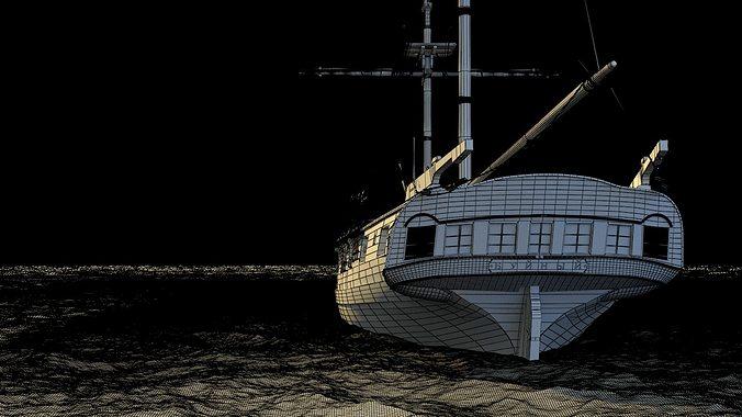 brig sail ship exuberant 3d model max 5