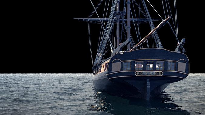 brig sail ship exuberant 3d model max 4