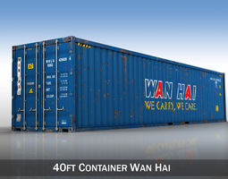 3D 40ft Shipping Container - Wan Hai