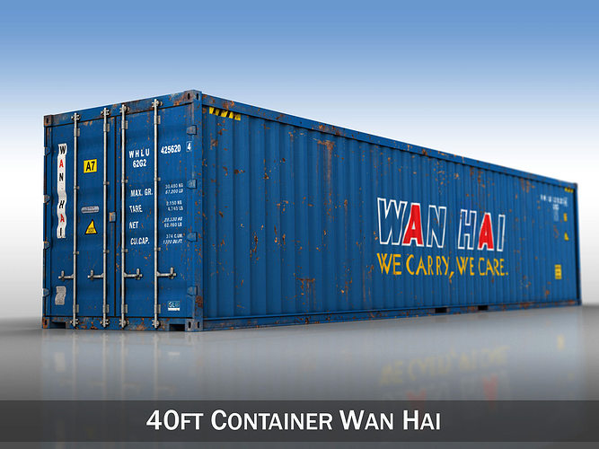 40ft shipping container - wan hai 3d model obj 3ds fbx c4d lwo lw lws 1