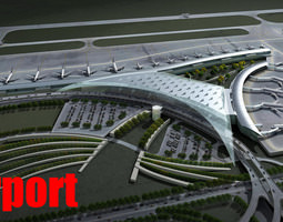 3d model airport with planes and whole infrastructure