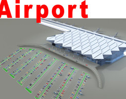 airport with huge parking lot 3d