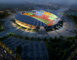 grand stadium 001  olympic size football arena 3d model