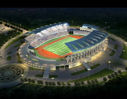 grand stadium 003  soccer olympic size arena with ball 3d