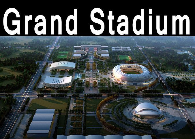 grand stadium 016 olympic size  building complex 3d model max obj mtl 3ds 1