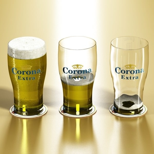 Corona beer pint glass 3d model max obj 3ds fbx for How to make corona glasses
