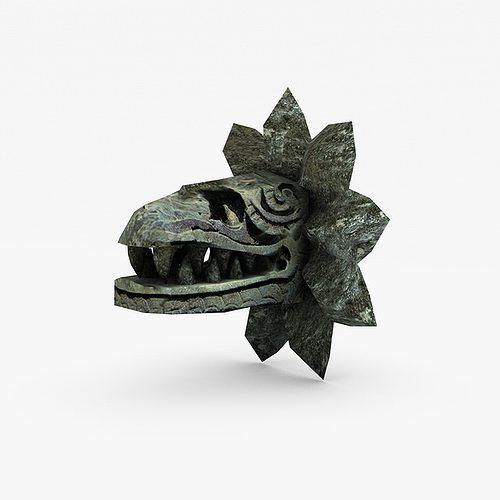 stone serpent head quetzalcoatl 3d model low-poly max obj mtl 3ds fbx c4d 1