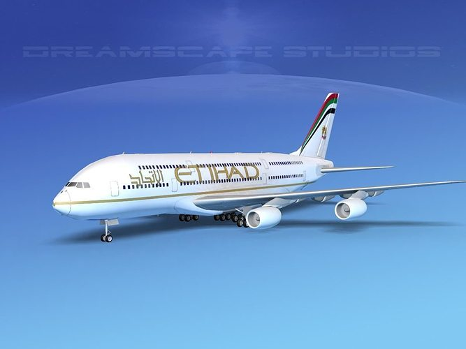 airbus a380-800 etihad airways 3d model rigged max obj 3ds lwo lw lws dxf dwg 1
