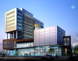 modern business center with glass exterior 3d
