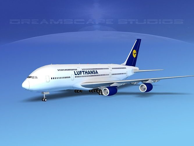 3d airbus a380 800 lufthansa cgtrader. Black Bedroom Furniture Sets. Home Design Ideas