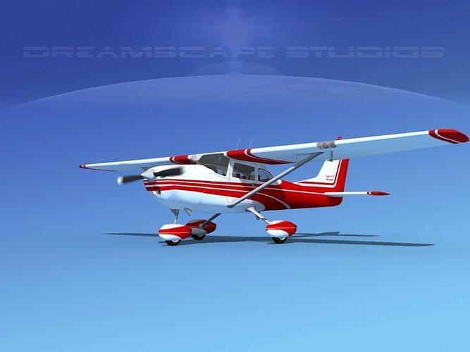 cessna 172 skyhawk 1967 v01 3d model animated max obj 3ds lwo lw lws dxf dwg 1