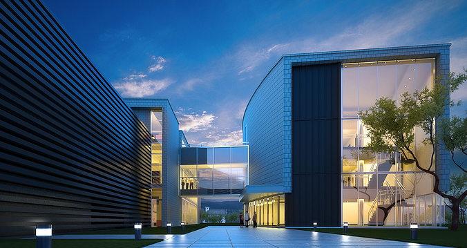Modern Glass Office Building 3D Model