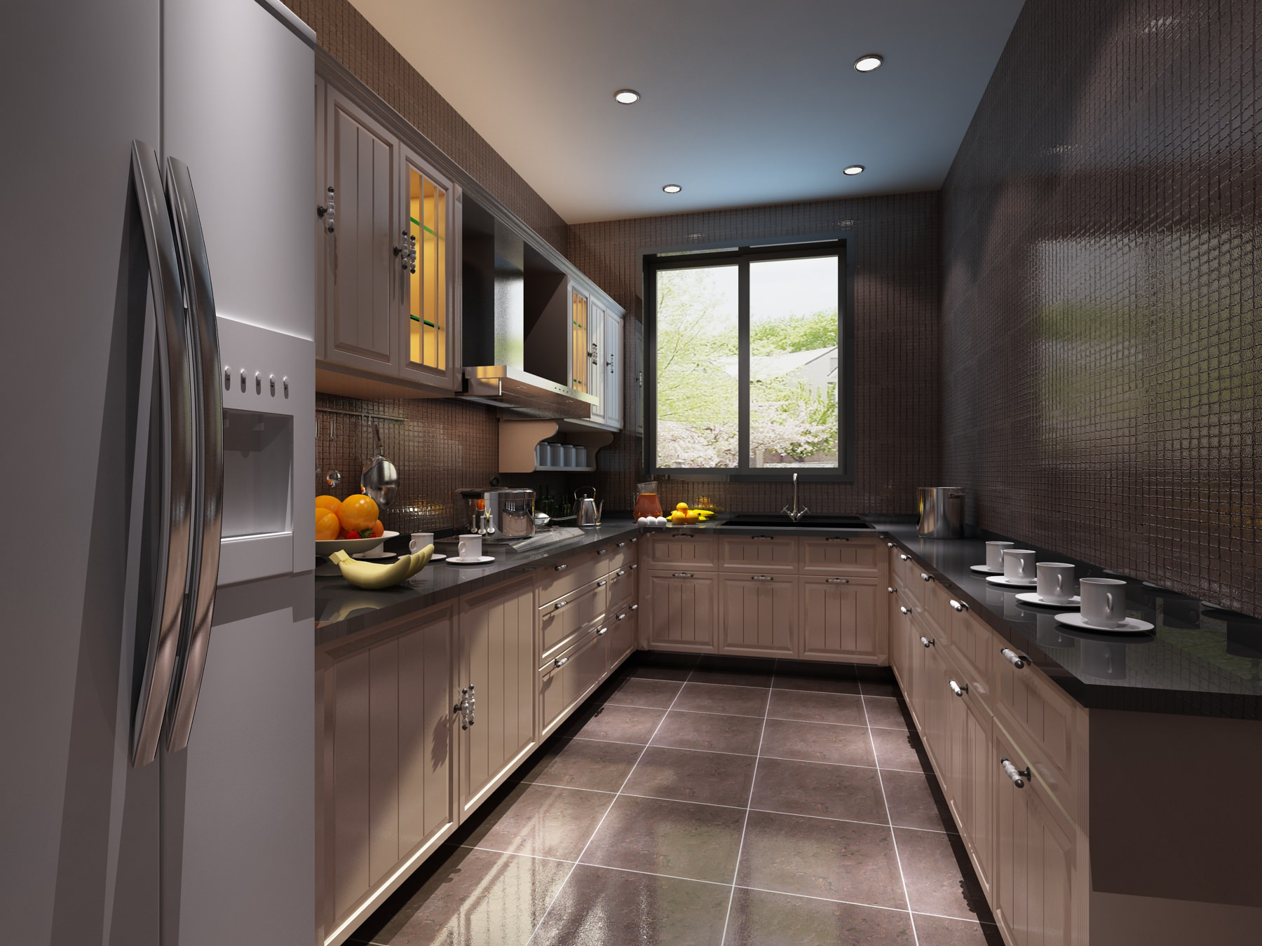 Modern Kitchen 3d Model Modern Kitchen Interior With Refrigerator 3d Model  Max