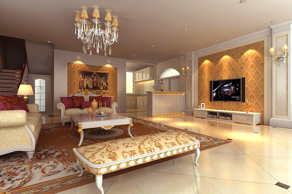 Living Room Interior With Divan 3d Model Max 1 ...