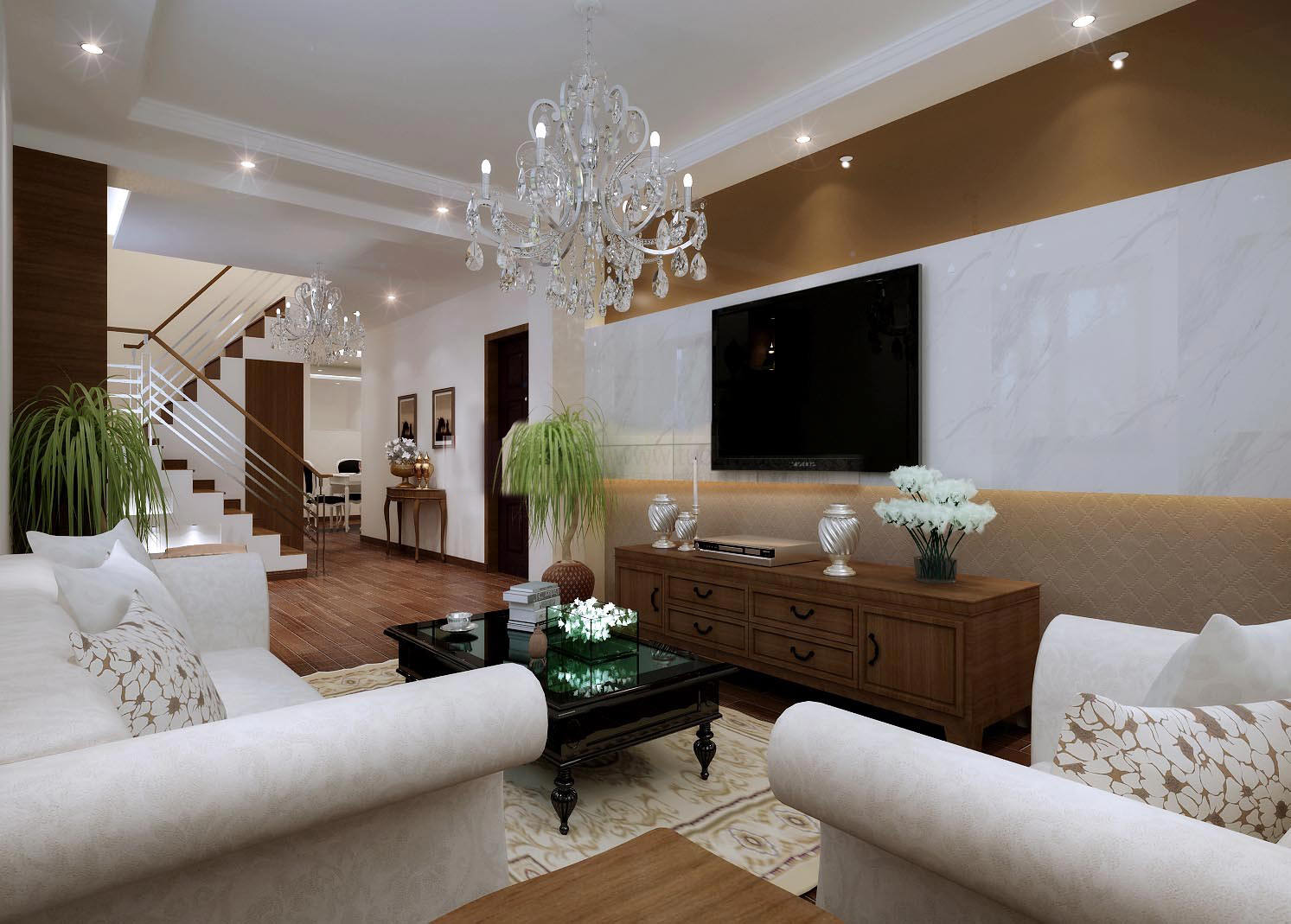 Classy Living Hall Interior With Chandelier Model Max