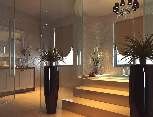 bathroom with black vases 3d model max 1