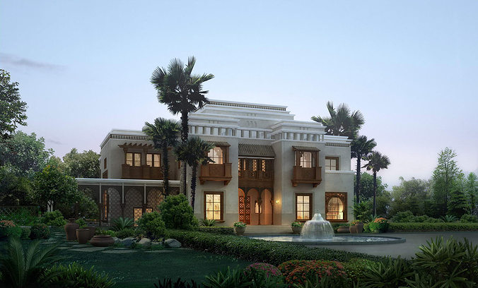 Luxury villa with palm tree 3d cgtrader for Palm tree villas 1