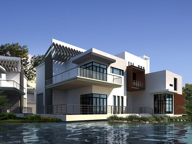 Modern condo by the water 3d cgtrader for Exterior 3ds max model