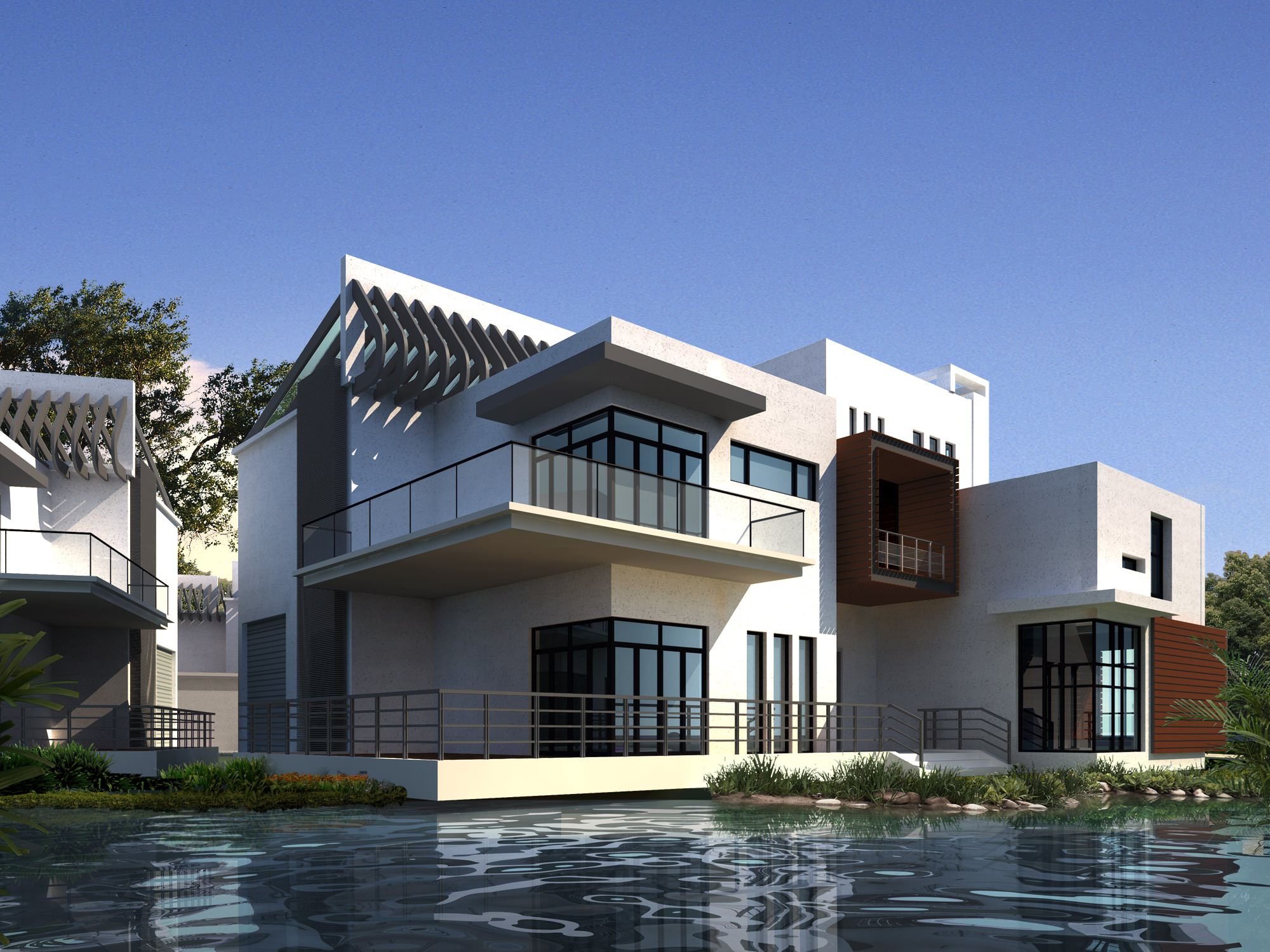 Modern condo by the water 3d model max 1