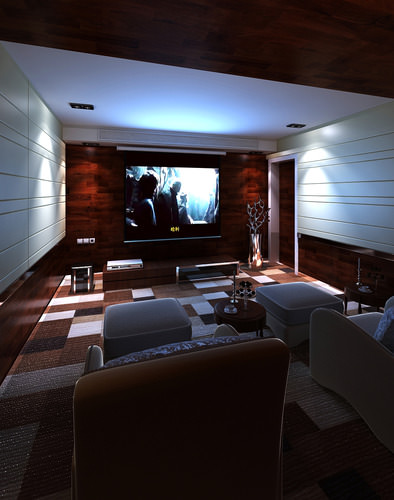 3d Model Home Theater Interior Cgtrader