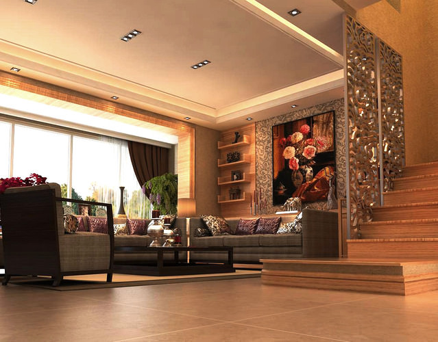 living room interior with flower painting 3d model max 1