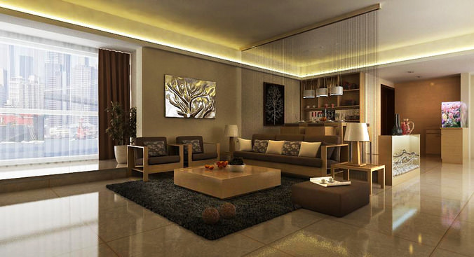 Drawing Room Interior With Carpet 3D Model