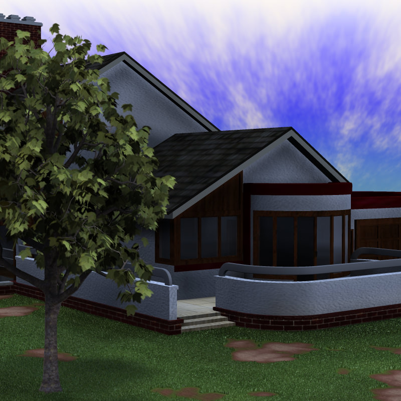 Modern house 2 poser vue 3d model vue pz3 pp2 for Architecture 3d vue 3d