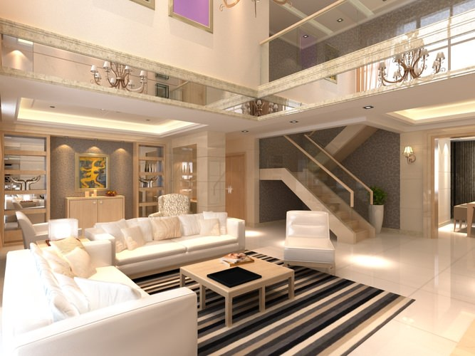 Elite Living Room Interior with Staircase 3D model MAX