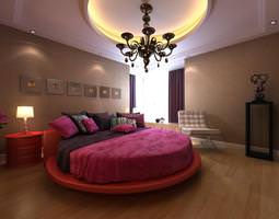 modern bedroom interior with round bed 3d