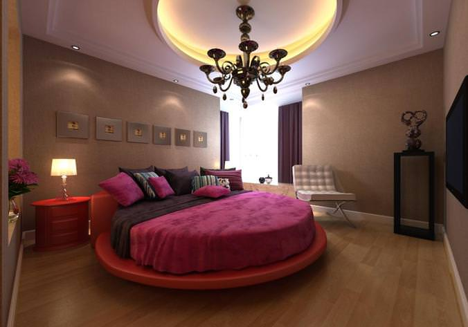 Modern Bedroom Interior With Round Bed 3d Cgtrader