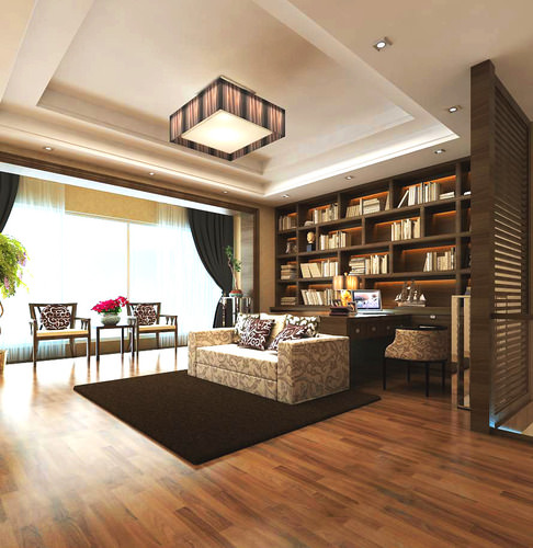 Modern living hall interior with bookshelves 3d model max for Living hall interior