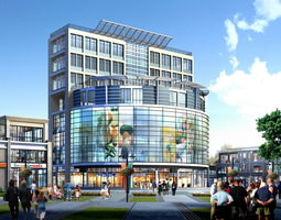 3d modern shopping mall with exotic exterior