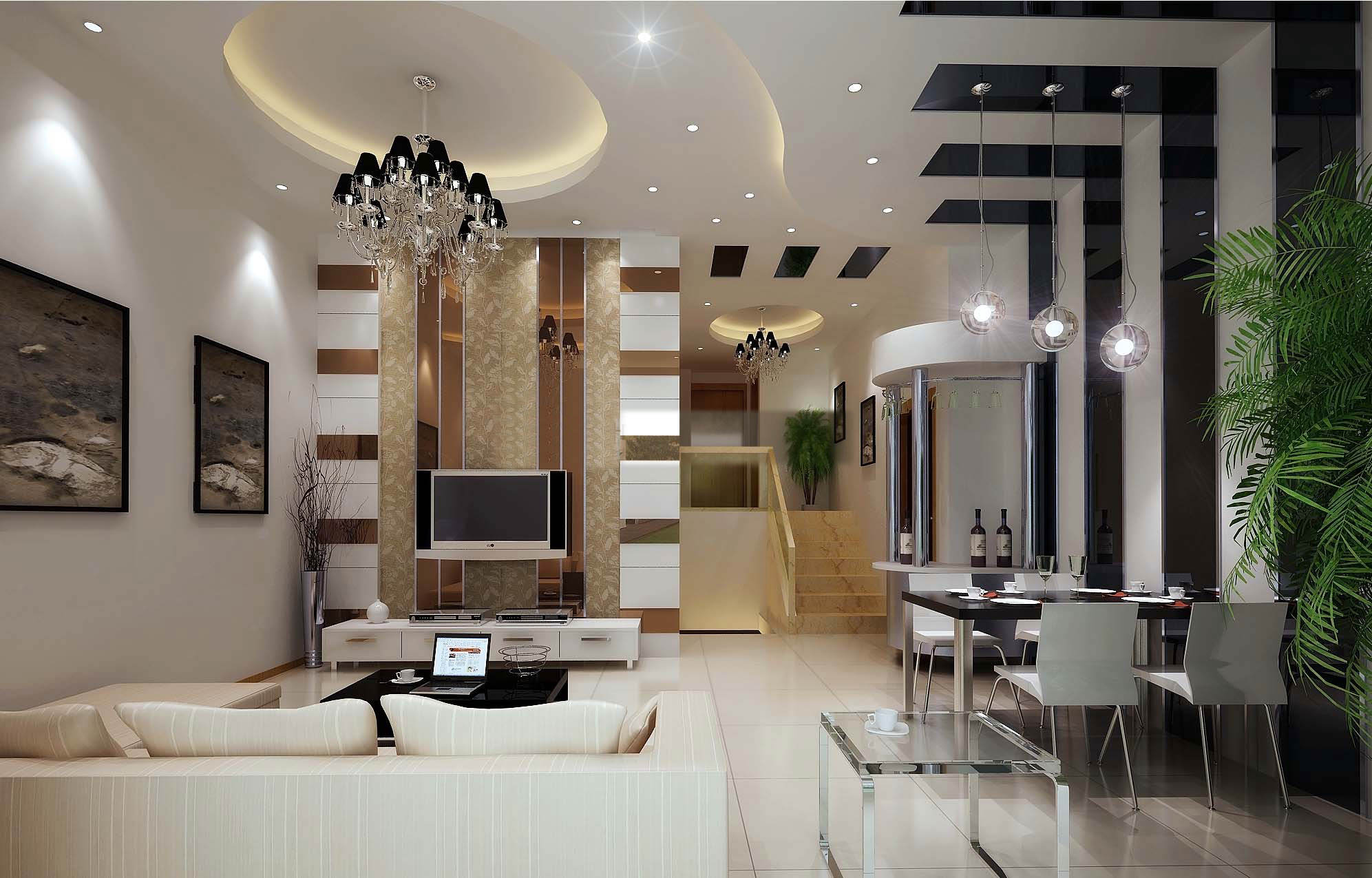 3D Posh Drawing Room Interior with TV | CGTrader