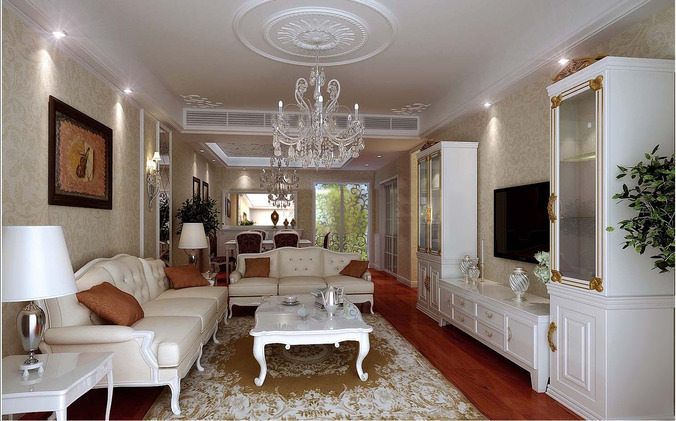 Posh Drawing Room Interior With Chandelier 3d Model Max