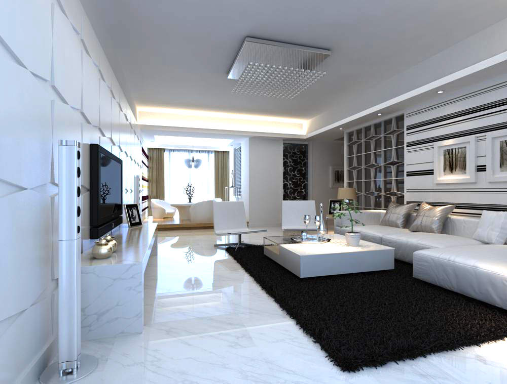 Fancy Living Room Interior With Carpet 3d Model Max 1 ...