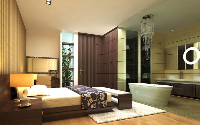 Elite Bedroom with Attached Bathroom 3D model | CGTrader