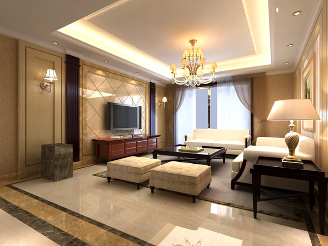 Elite living hall interior with chandelier 3d model max for Living hall interior
