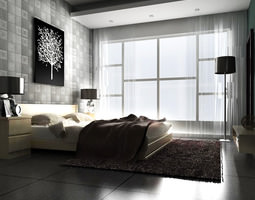 Florid Bedroom with Eminent Carpet 3D