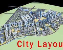 urban designed residential and commercial area 3d