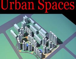 3d urban designed posh commercial town