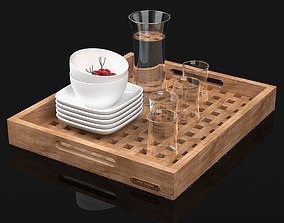 Wooden Tray Set with Glasses Jug Bowls 3D