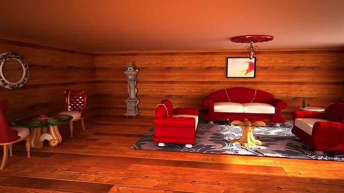 interier dark room 3d model max 1