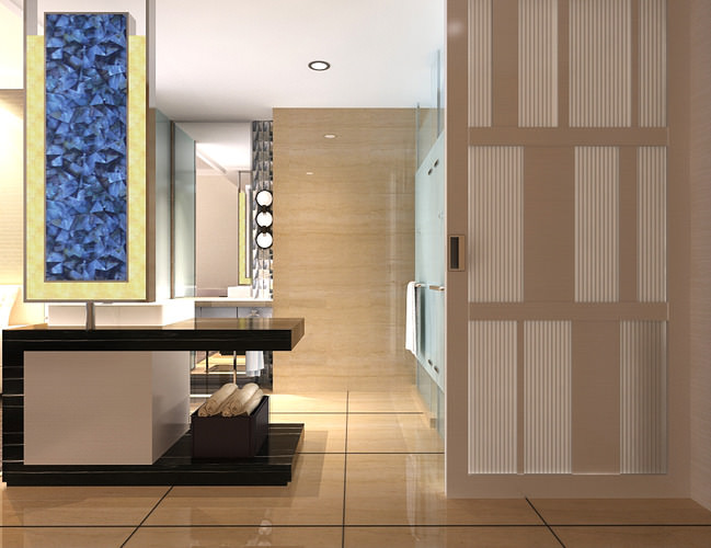 Bathroom with florid wall decor 3d model max for Model home bathroom decor