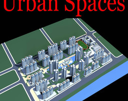 urban designed posh city with playground 3d